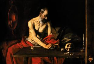 Company Images-Doctors of the Church Saint Jerome Writing- Valletta Malta by Caravaggio