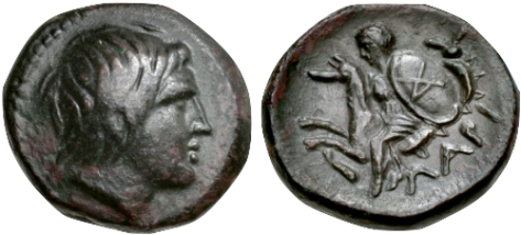 Head of Achilles depicted on a 4th-century BC coin from Kremaste, Phthia. Reverse- Thetis, wearing chiton and holding shield of Achilles with his AX monogram