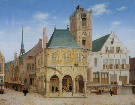 The old town hall in Amsterdam where the Bank of Amsterdam was founded in 1609, painting by Pieter Saenredam - Het Oud Stadhuis te Amsterdam