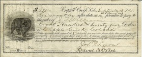 Company Images - A Cripple Creek Promissory note to Pay 1901 - Angelcraft Crown World Bank Reserve