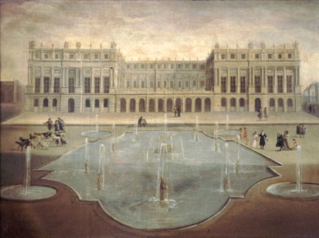 Crown Holdings France - The Palace of Versailles - a Royal Château in Versailles France - The French Royal Estate of Principe Jose Maria Chavira M.S. Adagio I  Image 1e -Zuidgevel Corps de logis rond 1675 Anonieme Schilder